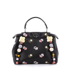 Fendi Peekaboo Handbag Embroidered Leather with Floral 2334201