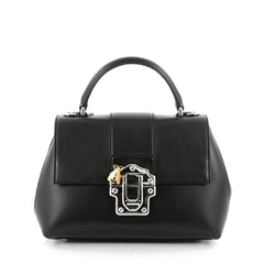 Dolce & Gabbana Convertible Lucia Top Handle Bag Leather Medium Black 2336801