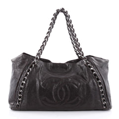 Chanel Modern Chain Tote Caviar East West Brown