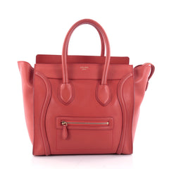 Celine Luggage Handbag Smooth Leather Mini Red 2339802