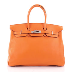 Hermes Birkin Handbag Orange Swift with Palladium 2341101