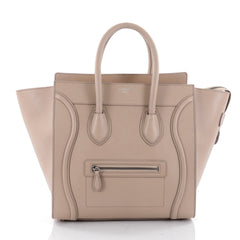 Celine Luggage Handbag Grainy Leather Mini Neutral 2342401