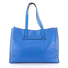 Valentino Rockstud Open Tote Leather Medium Blue 2344601