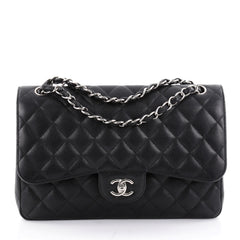 Chanel Classic Double Flap Bag Quilted Caviar Jumbo 2345101