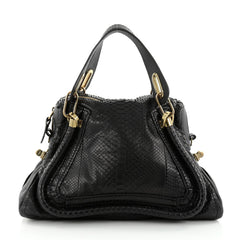 Chloe Paraty Top Handle Bag Python Medium Black 2345811