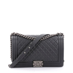 Chanel Boy Flap Bag Quilted Lambskin New Medium Gray 2346801
