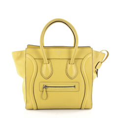 Celine Luggage Handbag Grainy Leather Micro Yellow 2347402