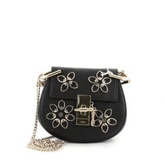 Chloe Drew Crossbody Bag Crystal Flower Embellished Leather Nano Black 2347801