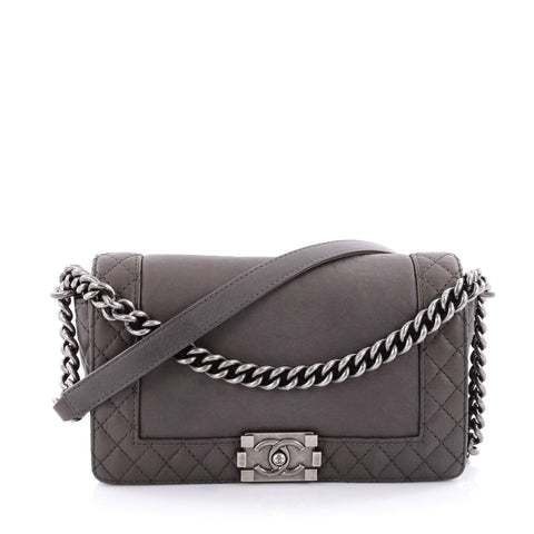 3b32c9dd86c2 Buy Chanel Reverso Boy Flap Bag Calfskin Old Medium Gray 2352101 – Rebag