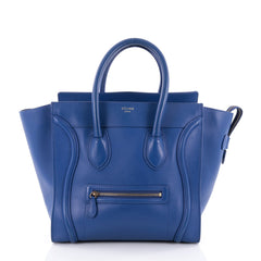 Celine Luggage Handbag Smooth Leather Mini Blue 2352201