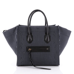 Celine Phantom Handbag Striped Canvas and Leather Medium Blue 2352401