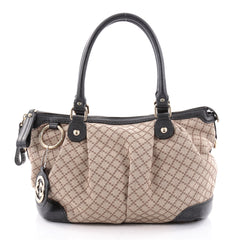 Gucci Sukey Top Handle Satchel Diamante Canvas Medium Neutral 2357703