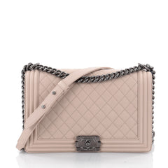 Chanel Boy Flap Bag Quilted Caviar New Medium Neutral