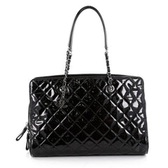 Chanel CC Angle Tote Quilted Patent Large Black