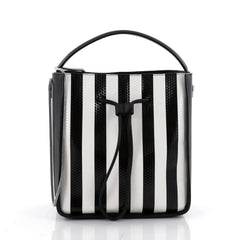 3.1 Phillip Lim Soleil Bucket Bag Striped Embossed Leather Small Black 2360401