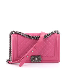 Chanel Boy Flap Bag Quilted Lambskin Old Medium Pink