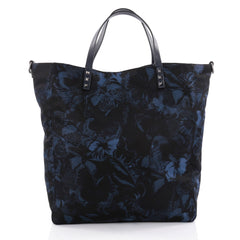 Valentino Rockstud Open Convertible Tote Butterfly Print Nylon Large Black 2366701