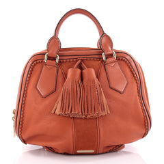 Burberry Hedwig Bowler Bag Leather with Suede Large Orange 2368301