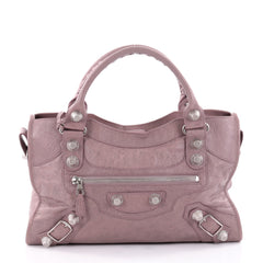 Balenciaga City Giant Studs Handbag Leather Medium Purple 2371301