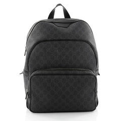 Gucci Zip Pocket Backpack GG Coated Canvas Medium Black 2374001