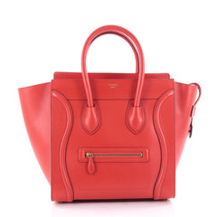 Celine Luggage Handbag Smooth Leather Mini Red