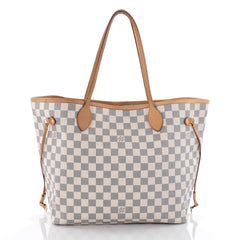 Louis Vuitton Neverfull Tote Damier MM White 2379001