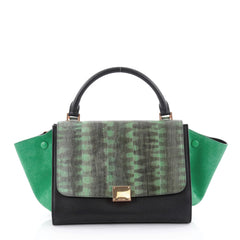 Celine Tricolor Trapeze Handbag Tiger Snake and Leather Small Green 2380401