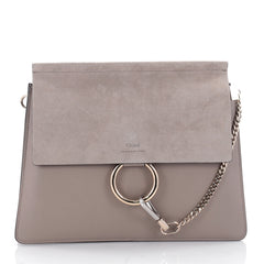 Chloe Faye Shoulder Bag Leather and Suede Medium Brown 2385201