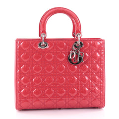 Christian Dior Lady Dior Handbag Cannage Quilt Patent Large Pink 2385801
