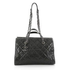 Chanel CC Crave Tote Quilted Glazed Caviar Green