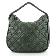 Chanel Hidden Chain Hobo Quilted Lambskin Large Green