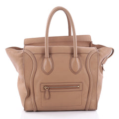 Celine Luggage Handbag Grainy Leather Mini Brown 2398702