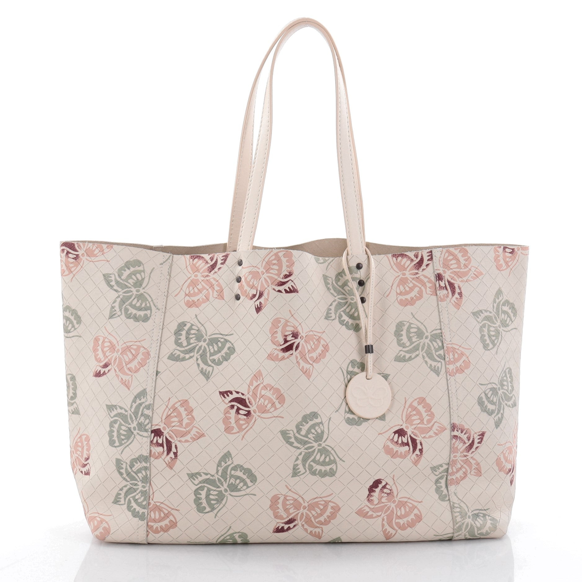 Tote Butterfly Embossed Intrecciomirage Intarsio Leather Large