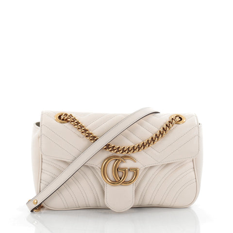 84dd2e6ad84 Buy Gucci GG Marmont Flap Bag Matelasse Leather Small White 2399602 – Rebag