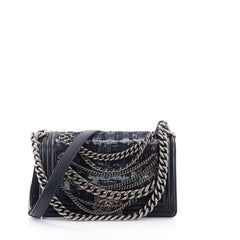 Chanel Boy Flap Bag Enchained Tweed Old Medium Blue