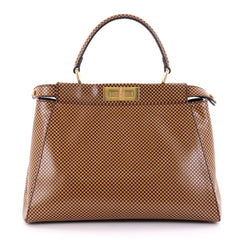 Fendi Peekaboo Handbag Check Print Leather Regular Brown 2403201