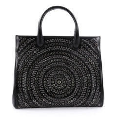 Alaia Snap Tote Grommet Embellished Leather Medium Black 2403702