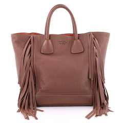 Prada Side Fringe Tote Cervo Leather Medium Brown 2403801