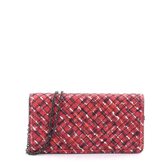 Bottega Veneta Wallet on Chain Intrecciato Nappa Red 2409701