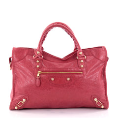 Balenciaga City Giant Studs Handbag Leather Medium Red 2412301