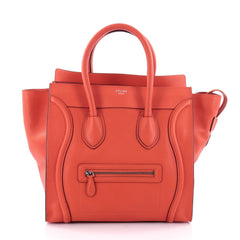 Celine Luggage Handbag Grainy Leather Mini Orange 2412801