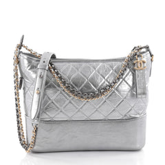 Chanel Gabrielle Hobo Quilted Aged Calfskin Medium Gray