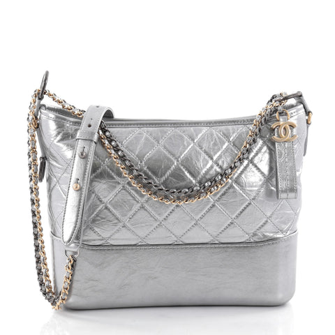839e47553711 Buy Chanel Gabrielle Hobo Quilted Aged Calfskin Medium Gray 2413603 – Rebag
