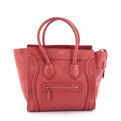 Celine Luggage Handbag Smooth Leather Micro Red 2414202
