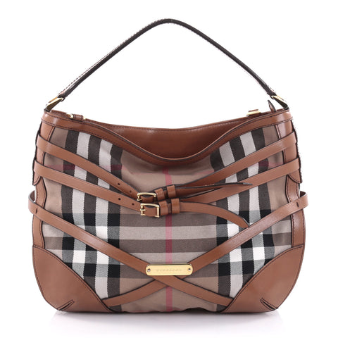 ad944ac2ea74 Buy Burberry Bridle Dutton Hobo House Check and Leather 2416601 – Rebag