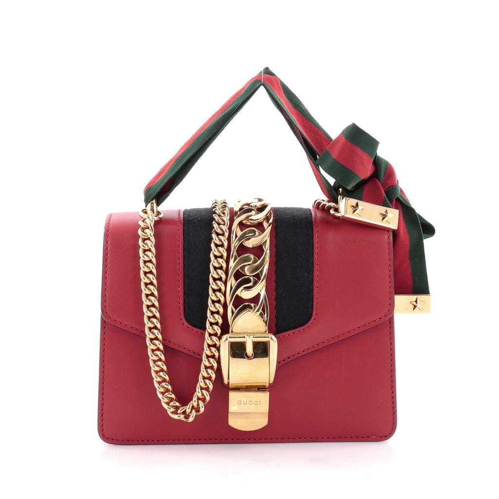 f5dc3441d5d Buy Gucci Sylvie Chain Shoulder Bag Leather Mini Red 2416901 – Rebag