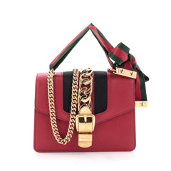 Gucci Sylvie Chain Shoulder Bag Leather Mini Red 2416901
