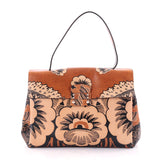 Valentino Floral Top Handle Bag Printed Leather Medium Brown 2419501