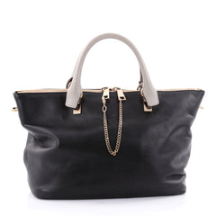 Chloe Bicolor Baylee Satchel Leather Small Black 2423202