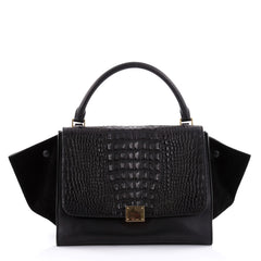 Celine Trapeze Handbag Crocodile and Leather Medium Black 2427701